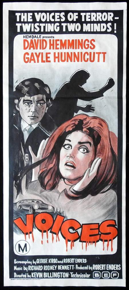 VOICES Original Daybill Movie Poster David Hemmings Gayle Hunnicutt Horror