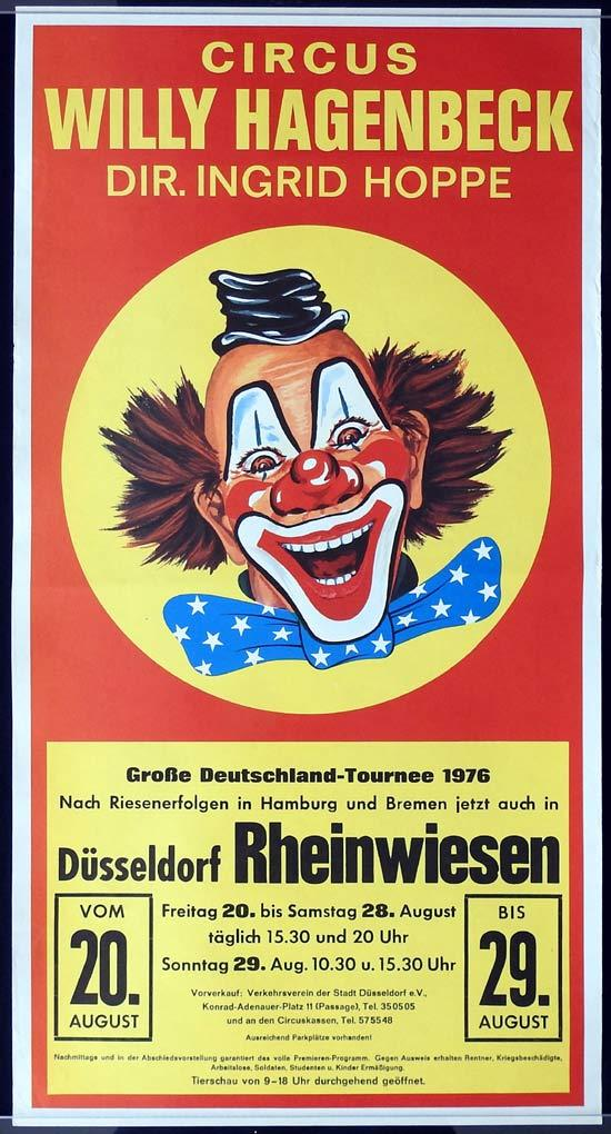 WILLY HAGENBECK Original Poster CLOWN ART Dusseldorf Rheinwiesen