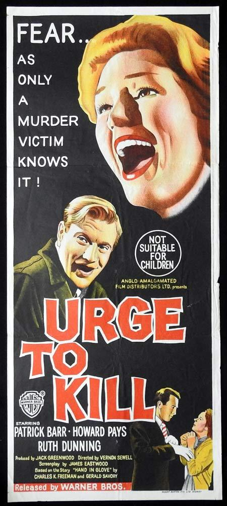 URGE TO KILL Original Daybill Movie Poster Edgar Wallace Mystery Serial Killer