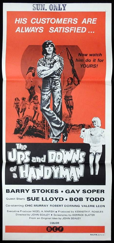 UPS AND DOWNS OF A HANDYMAN Original Daybill Movie poster Barry Stokes Gay Soper