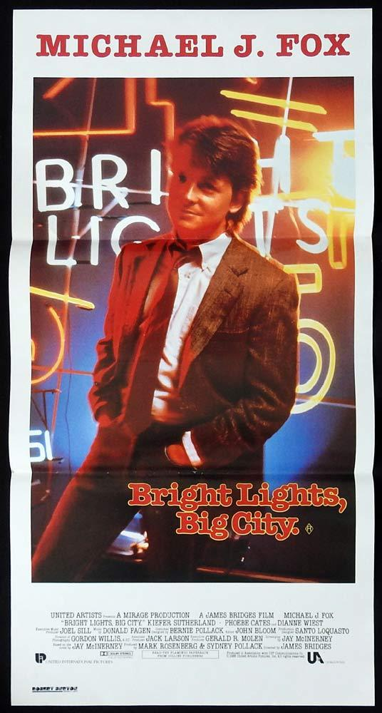BRIGHT LIGHTS BIG CITY Daybill Movie poster Michael J. Fox Kiefer Sutherland
