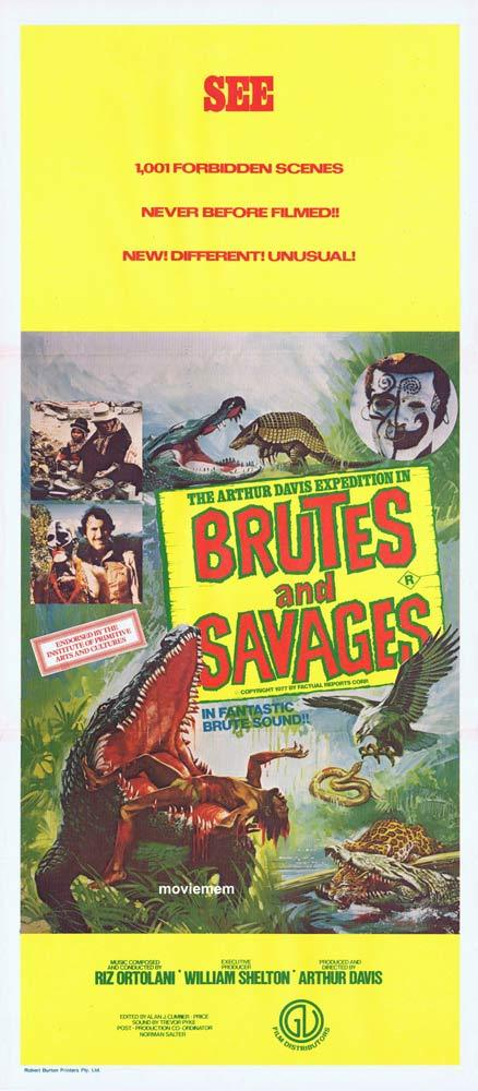 BRUTES AND SAVAGES Original Daybill Movie Poster Arthur Davis Crocodile attack