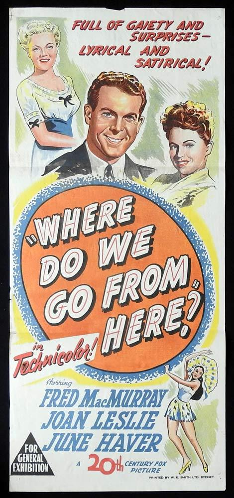 WHERE DO WE GO FROM HERE Original Daybill Movie poster Fred MacMurray Joan Leslie