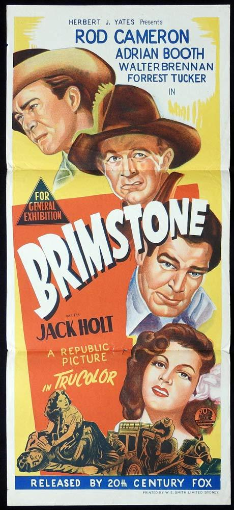 BRIMSTONE Original Daybill Movie poster Rod Cameron Lorna Gray