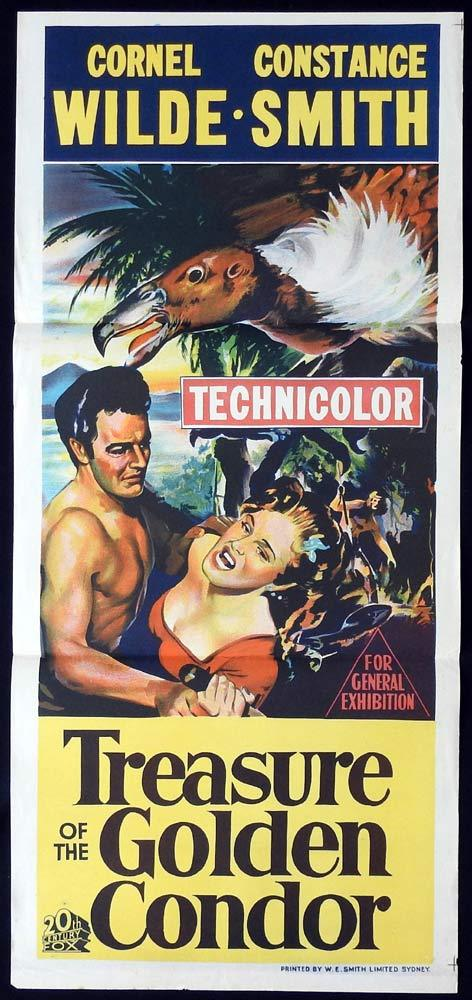 TREASURE OF THE GOLDEN CONDOR Original Daybill Movie poster  Cornel Wilde Constance Smith