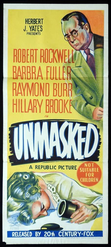UNMASKED Daybill Movie Poster Robert Rockwell Film Noir