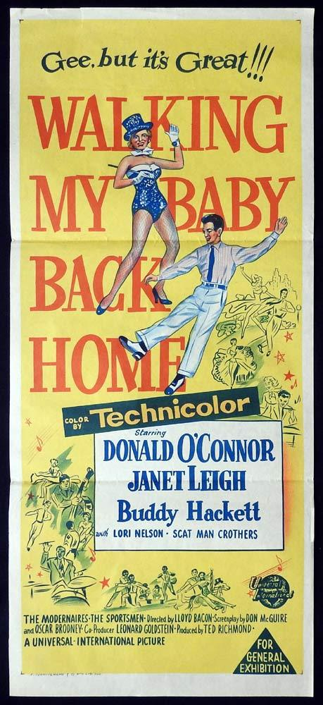 WALKING MY BABY BACK HOME Original Daybill Movie poster Donald O'Connor Janet Leigh