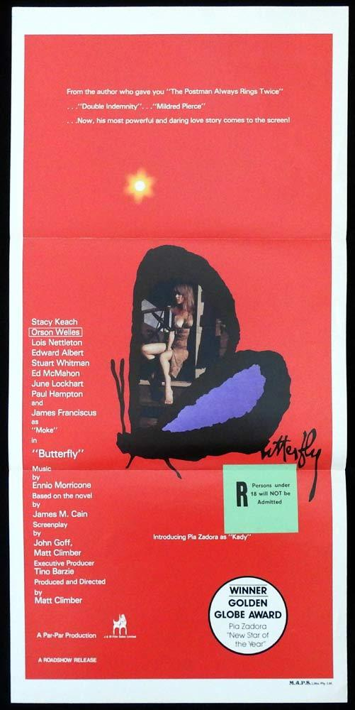 BUTTERFLY Original Daybill Movie poster Stacy Keach Pia Zadora Orson Welles