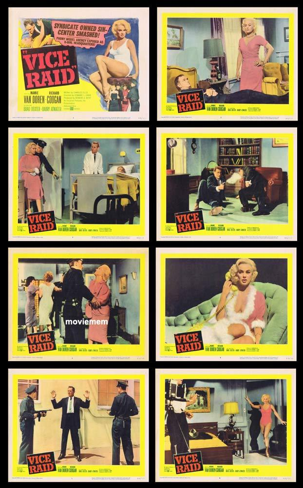 VICE RAID Original Lobby Card set Mamie Van Doren Bad Girl