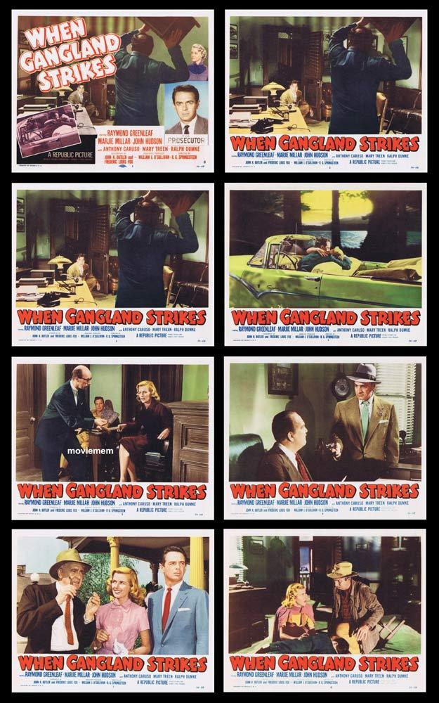 WHEN GANGLAND STRIKES Original Lobby Card set Raymond Greenleaf Film Noir
