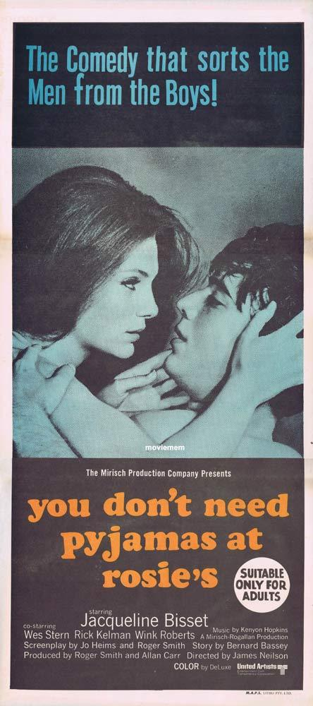 YOU DONT NEED PAJAMAS AT ROSIES 1969 Jacqueline Bissett Australian Daybill Movie poster