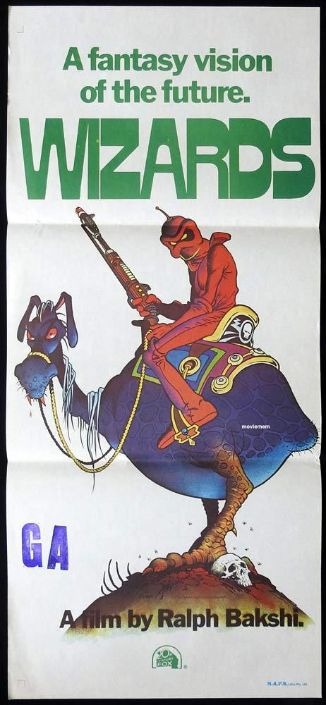 WIZARDS Original daybill Movie Poster Ralph Bakshi William Stout art Mark Hamill