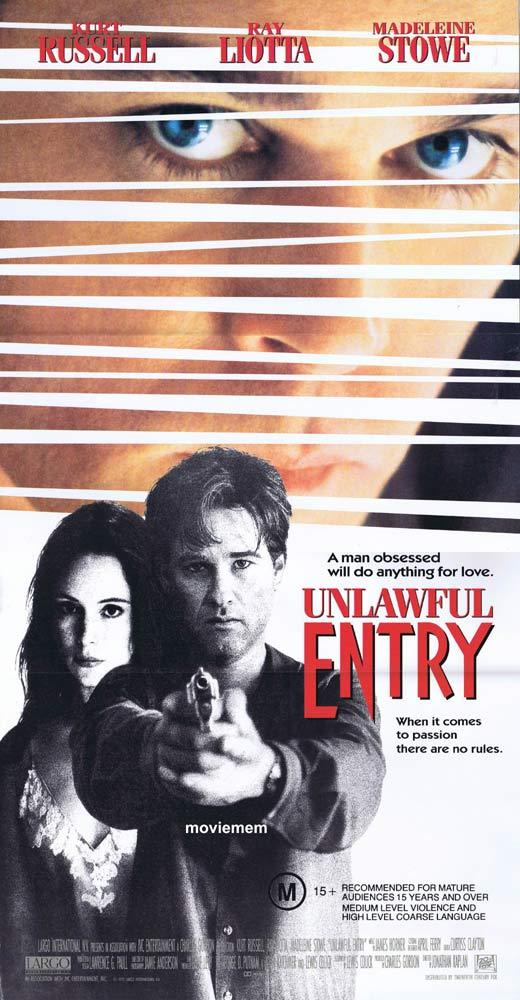 UNLAWFUL ENTRY Original Daybill Movie poster Kurt Russell Ray Liotta