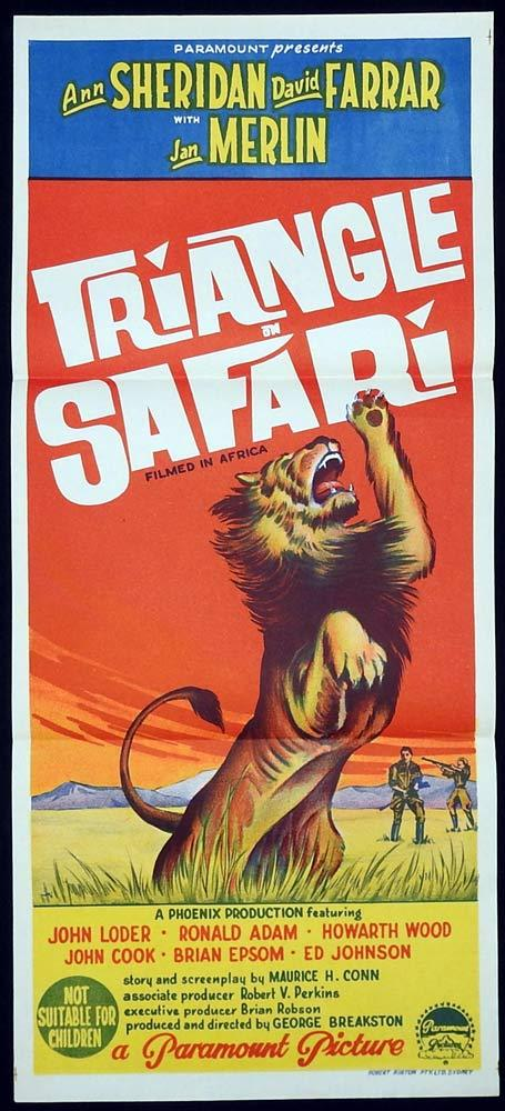 TRIANGLE SAFARI Daybill Movie poster Ann Sheridan David Farrar