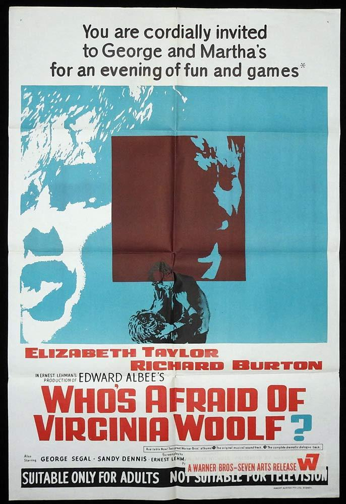 WHO'S AFRAID OF VIRGINIA WOOLF Original One sheet Movie Poster Elizabeth Taylor