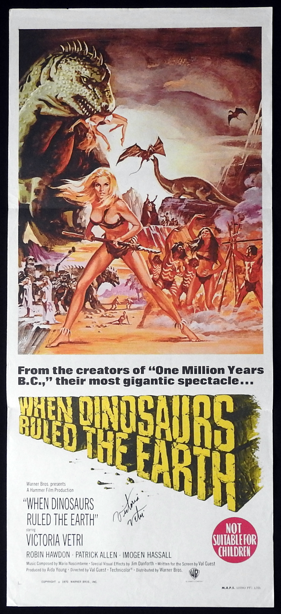 WHEN DINOSAURS RULED THE EARTH Original Daybill Movie Poster VICTORIA VETRI Autograph