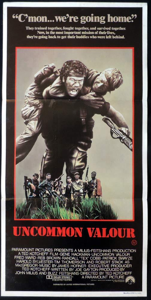 UNCOMMON VALOR Original Daybill Movie poster Gene Hackman Patrick Swayze