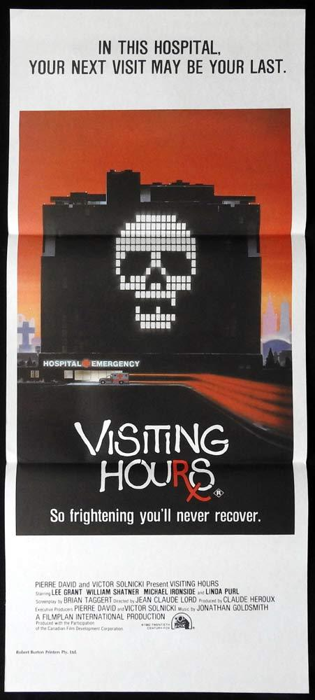 VISITING HOURS Original Daybill Movie Poster William Shatner Horror Hospital