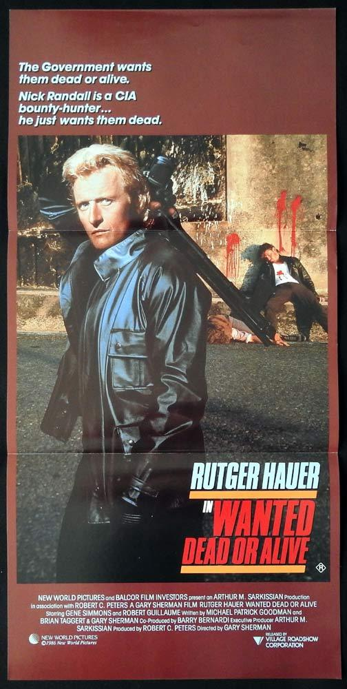 WANTED DEAD OR ALIVE Daybill Movie Poster Rutger Hauer Gene Simmons Mel Harris