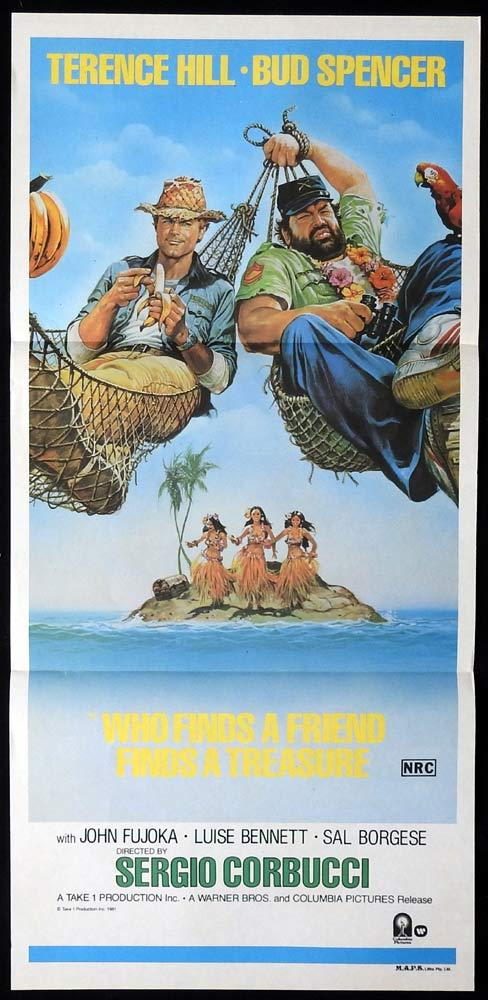 WHO FINDS A FRIEND Original Daybill Movie poster Terence Hill Bud Spencer