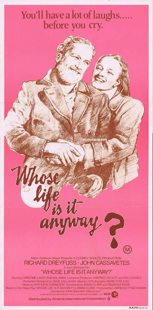 WHOSE LIFE IS IT ANYWAY Original Daybill Movie poster Richard Dreyfuss