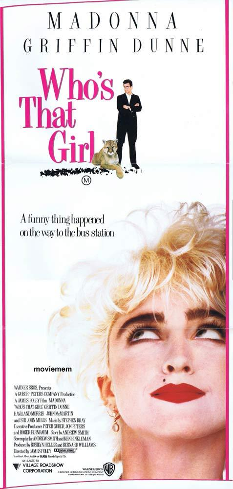 WHO'S THAT GIRL Original daybill Movie Poster MADONNA Griffin Dunne John Mills