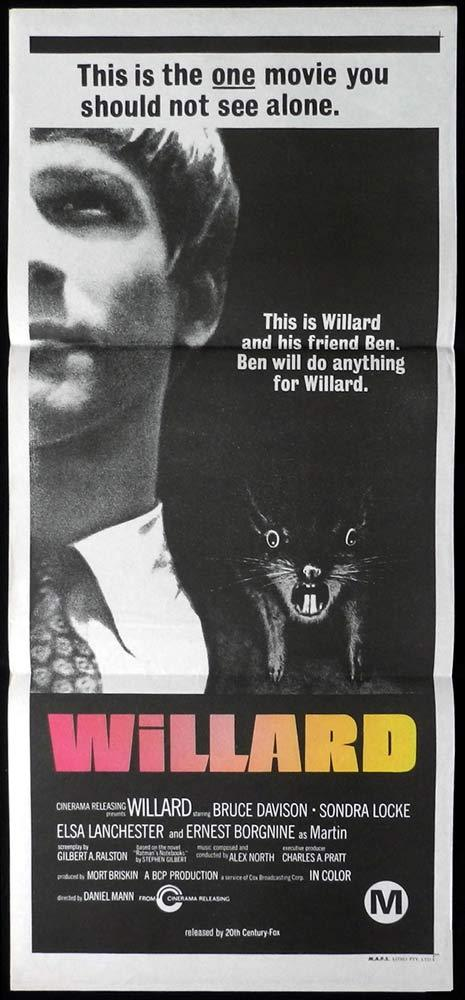 WILLARD Original daybill Movie Poster RATS Bruce Davison Elsa Lanchester