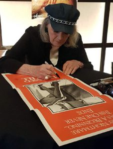 ANGIE DICKINSON Signs a DRESSED TO KILL Daybill Movie Poster image