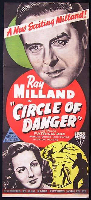 CIRCLE OF DANGER Movie Poster 1951 Ray Milland RKO NOIR daybill