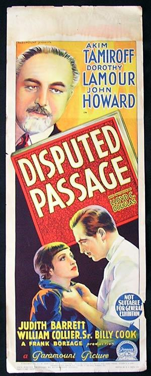 DISPUTED PASSAGE Movie Poster 1939 Dorothy Lamour Richardson Studio RARE Long daybill