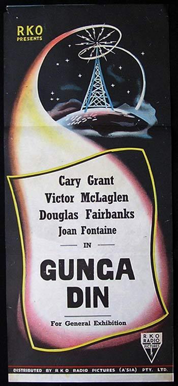 GUNGA DIN Movie Poster 1940sr Cary Grant RKO NOIR daybill