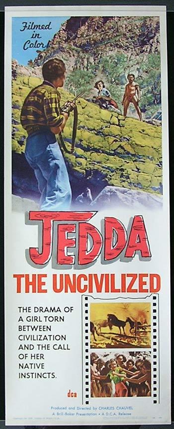 JEDDA THE UNCILVILIZED Movie Poster 1955 Charles Chauvel VERY RARE Original US Insert