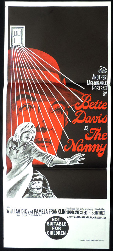 THE NANNY Original Daybill Movie poster Bette Davis Pamela Franklin Hammer Horror