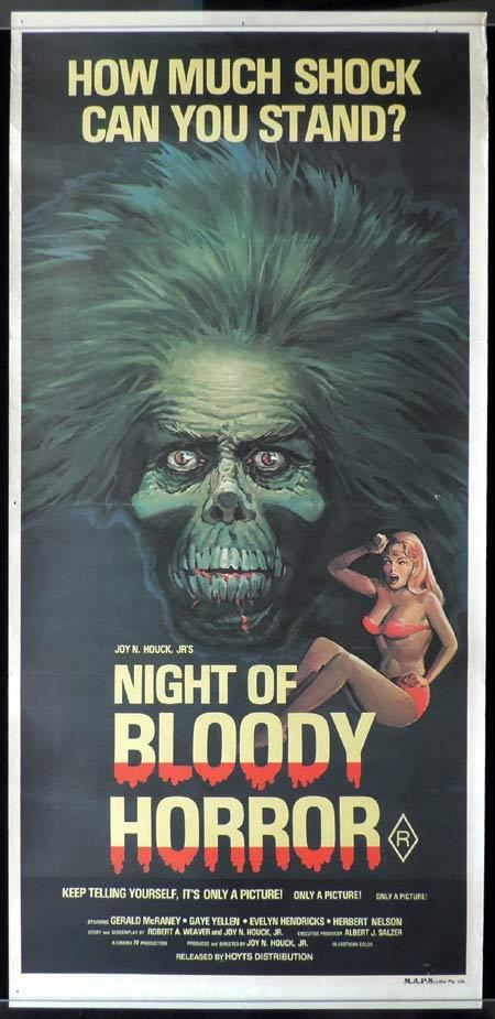 NIGHT OF BLOODY HORROR Original Daybill Movie Poster Horror