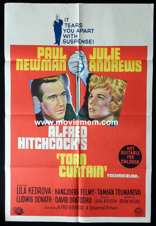 TORN CURTAIN Original One sheet Movie poster Alfred Hitchcock