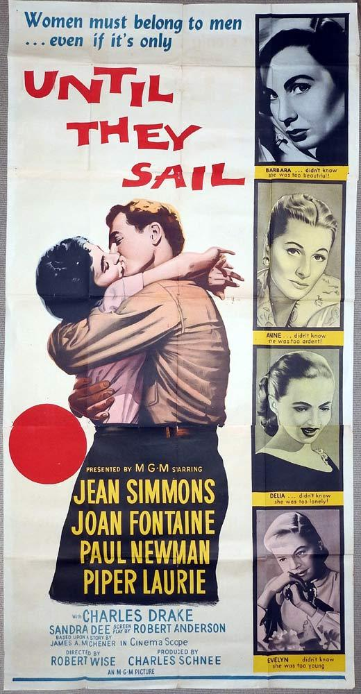 UNTIL THEY SAIL Original 3 Sheet Movie Poster Jean Simmons Joan Fontaine