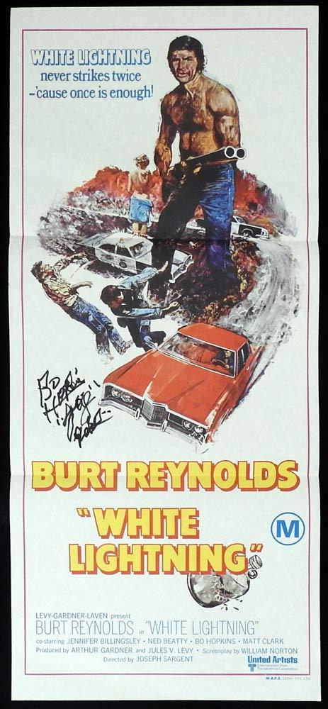 WHITE LIGHTNING Original Daybill Movie poster AUTOGRAPHED by BO HOPKINS