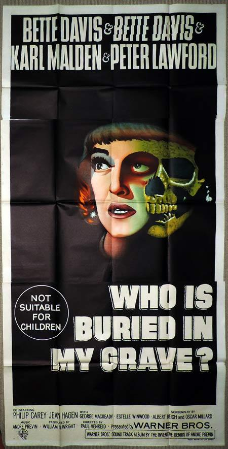WHO IS BURIED IN MY GRAVE Original 3 Sheet Movie Poster Bette Davis