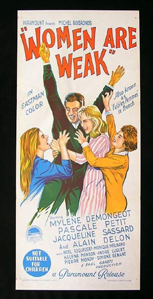 WOMEN ARE WEAK Daybill Movie Poster 1959 Alain Delon Richardson Studio