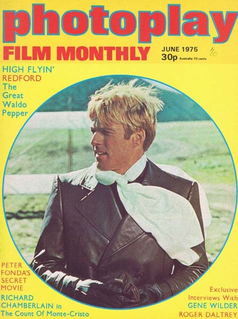 PHOTOPLAY Film Monthly Magazine June 1975 Robert Redford Great Waldo Pepper cover