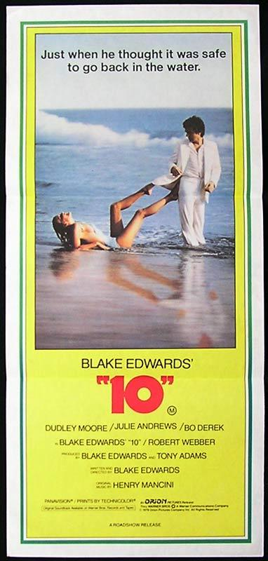 """10"" Dudley Moore Bo Derek Julie Andrews RARE Daybill Movie poster"
