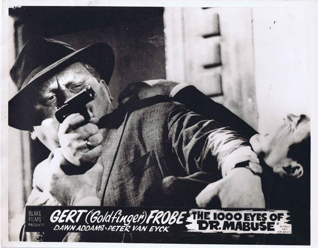 THE 1000 EYES OF DR MABUSE Original Australian Lobby Card 2 Fritz Lang Gert Frobe Peter Van Eyck