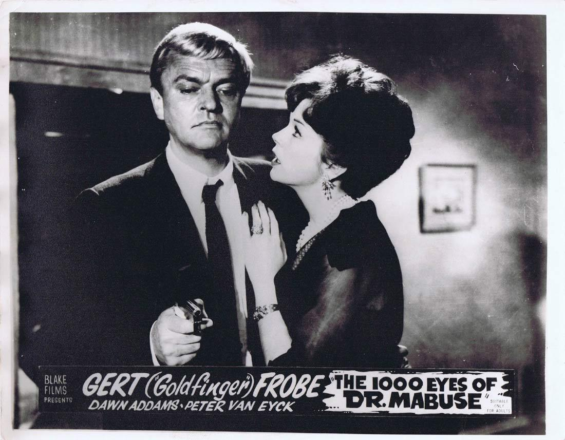 THE 1000 EYES OF DR MABUSE Original Australian Lobby Card 3 Fritz Lang Gert Frobe Peter Van Eyck
