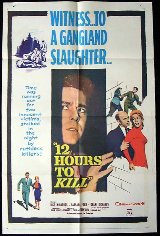12 HOURS TO KILL Original One sheet Movie poster Nico Minardos Barbara Eden