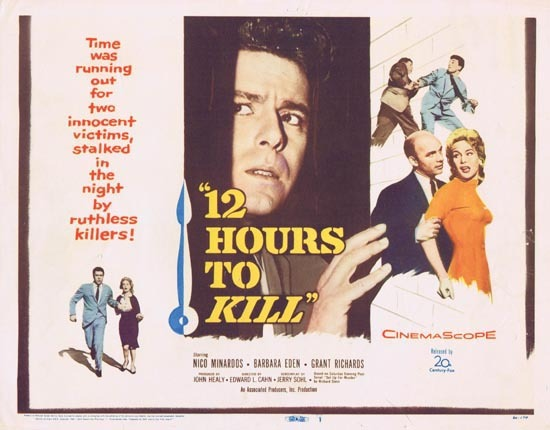 12 HOURS TO KILL Title Lobby Card 1959 Barbara Eden