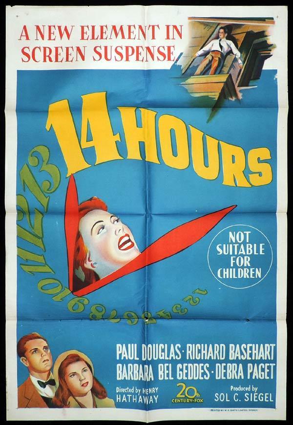 14 HOURS One Sheet Movie Poster Paul Douglas Grace Kelly