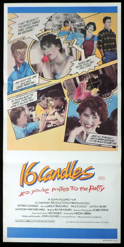 16 CANDLES Original Daybill Movie Poster Molly Ringwald John Hughes