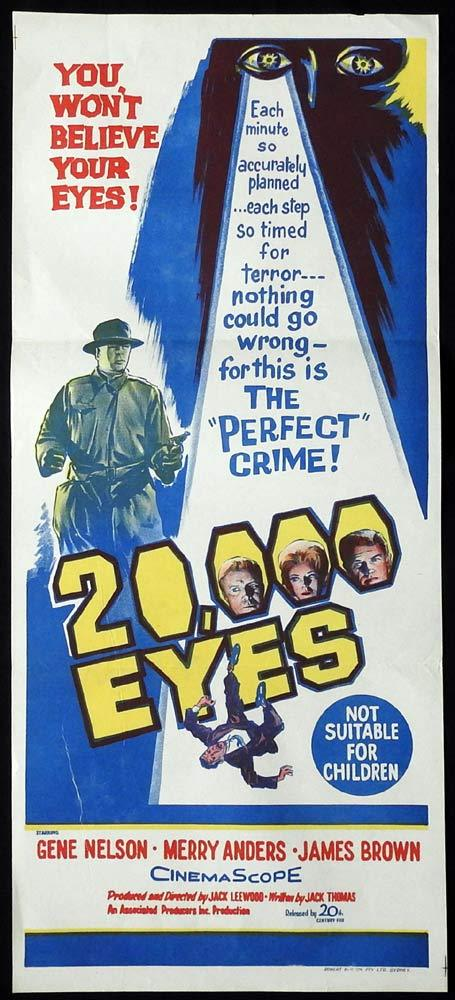20,000 EYES Original Daybill Movie Poster Gene Nelson Film Noir