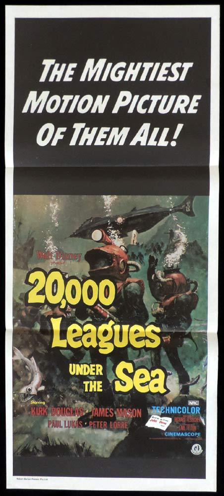 20000 LEAGUES UNDER THE SEA Daybill Movie Poster Verne Peter Lorre James Mason