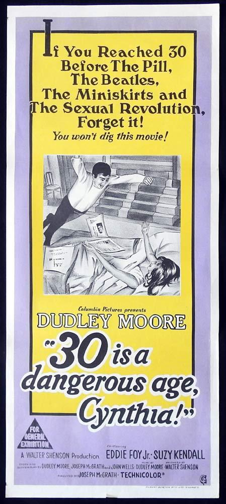 30 IS A DANGEROUS AGE CYNTHIA Original Daybill Movie Poster Dudley Moore Suzy Kendall